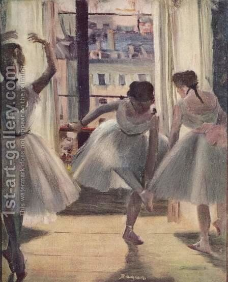 Three dancers in a exercise hall by Edgar Degas - Reproduction Oil Painting