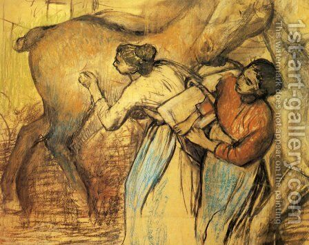 Two Laundresses and a Horse by Edgar Degas - Reproduction Oil Painting