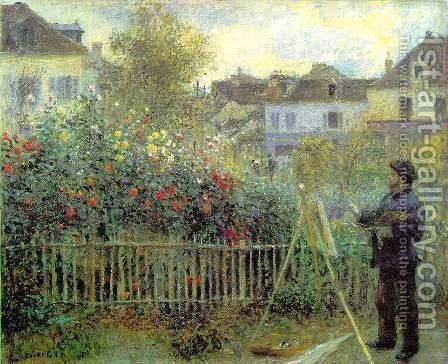 Renoir Painting In His Garden (1873) by Claude Oscar Monet - Reproduction Oil Painting