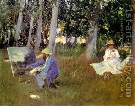Sargent Claude monet_painting_in a garden 1885 by Claude Oscar Monet - Reproduction Oil Painting