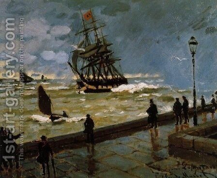 The Jetty at Le Havre in Rough Westher by Claude Oscar Monet - Reproduction Oil Painting