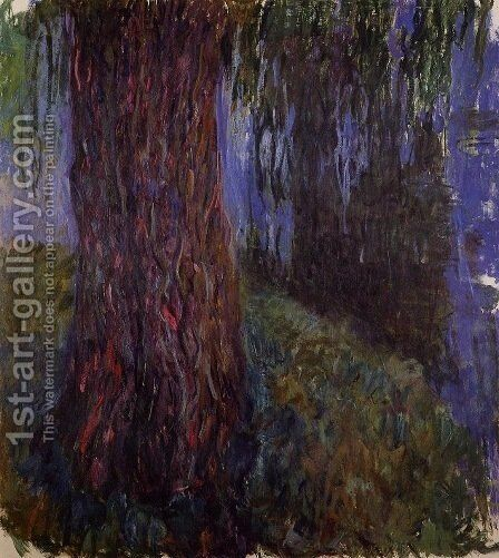 Water-Lily Garden with Weeping Willow by Claude Oscar Monet - Reproduction Oil Painting