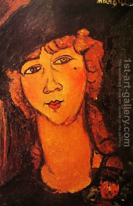 Head of a Woman in a Hat (aka Lolotte) by Amedeo Modigliani - Reproduction Oil Painting