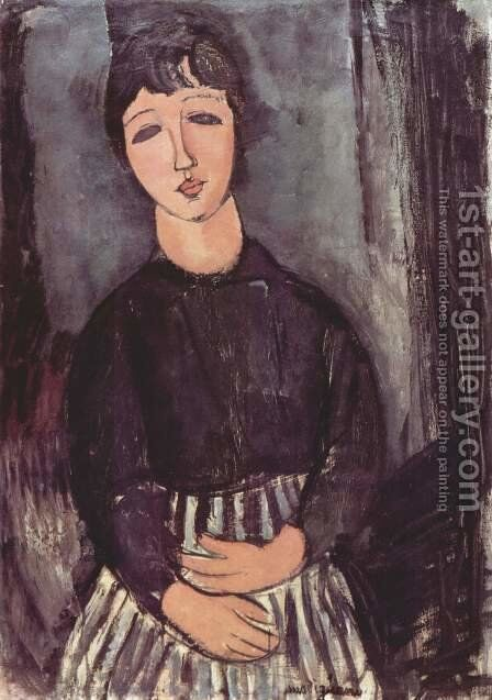 Portrait of a maid by Amedeo Modigliani - Reproduction Oil Painting