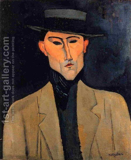 Portrait of a Man with Hat (aka Jose Pacheco) by Amedeo Modigliani - Reproduction Oil Painting