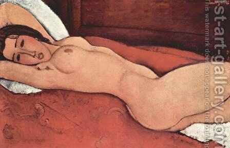 Recumbent act with arms crossed behind the head by Amedeo Modigliani - Reproduction Oil Painting