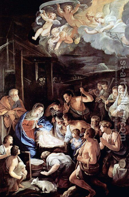 Adoration of the Shepherds by Guido Reni - Reproduction Oil Painting