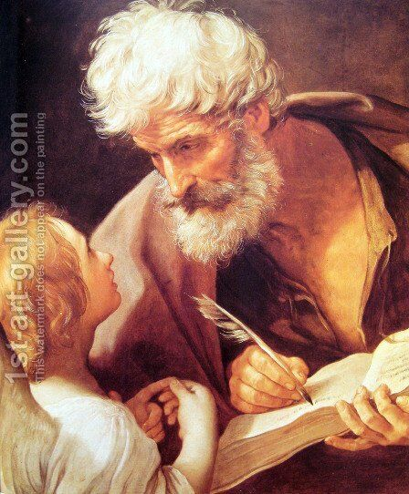 Evangelist St. Matthew and the Angel by Guido Reni - Reproduction Oil Painting