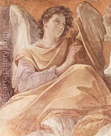 Frescoes in the Palazzo Quirinale, Cappella dell'Annunciata, vault fresco scene, the Queen of Heaven and angels pla by Guido Reni - Reproduction Oil Painting