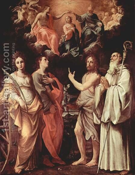 Marien's coronation with St. Catherine of Alexandria, St. John Evangelist, St. John the Baptist, St. Romuald of Cam by Guido Reni - Reproduction Oil Painting