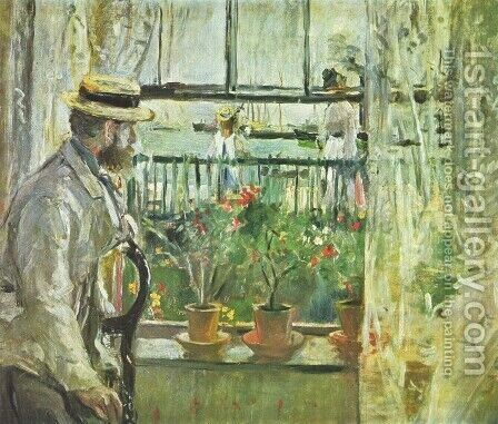 Eugene Manet (the Artist's Husband)  on the Isle of Wight by Berthe Morisot - Reproduction Oil Painting
