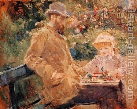 Eugene Manet and His Daughter at Bougival by Berthe Morisot - Reproduction Oil Painting
