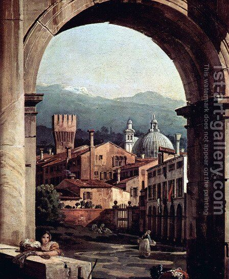 Capriccio Romano, and gate tower, detail by Bernardo Bellotto (Canaletto) - Reproduction Oil Painting