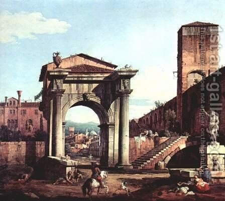 Capriccio Romano, and gate tower by Bernardo Bellotto (Canaletto) - Reproduction Oil Painting
