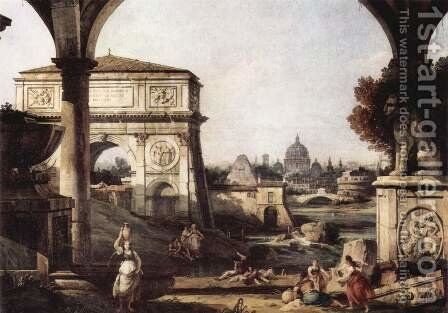 Capriccio Romano, Titus bow by Bernardo Bellotto (Canaletto) - Reproduction Oil Painting