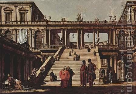 Capriccio, palace staircase by Bernardo Bellotto (Canaletto) - Reproduction Oil Painting
