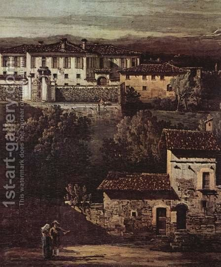 The village Gazzada view of the South-East at the Villa Melzi d'Eril, Detail 1 by Bernardo Bellotto (Canaletto) - Reproduction Oil Painting