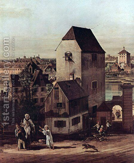 View from Munich, The Bridge gate and the Isar, Munich Heidhausen view, Detail 1 by Bernardo Bellotto (Canaletto) - Reproduction Oil Painting
