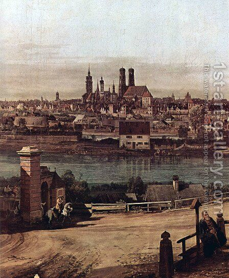 View from Munich, The Bridge gate and the Isar, Munich Heidhausen view, Detail 2 by Bernardo Bellotto (Canaletto) - Reproduction Oil Painting