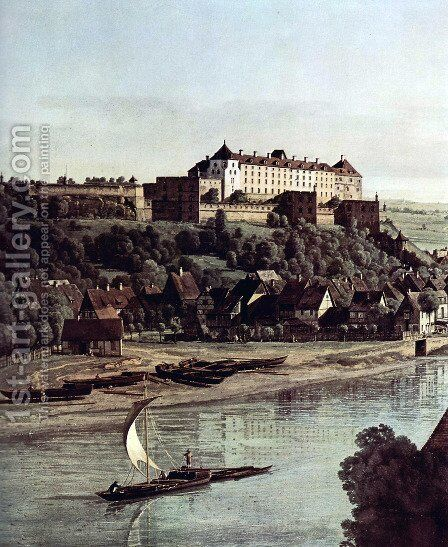 View from Pirna, Pirna of the vineyards at Posta, with Fortress Sonnenstein, Detail by Bernardo Bellotto (Canaletto) - Reproduction Oil Painting