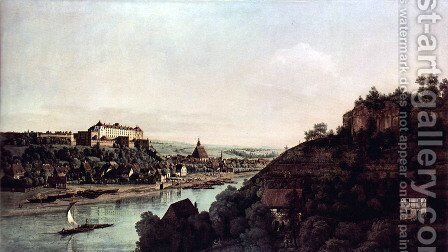 View from Pirna, Pirna of the vineyards at Posta, with Fortress Sonnenstein by Bernardo Bellotto (Canaletto) - Reproduction Oil Painting