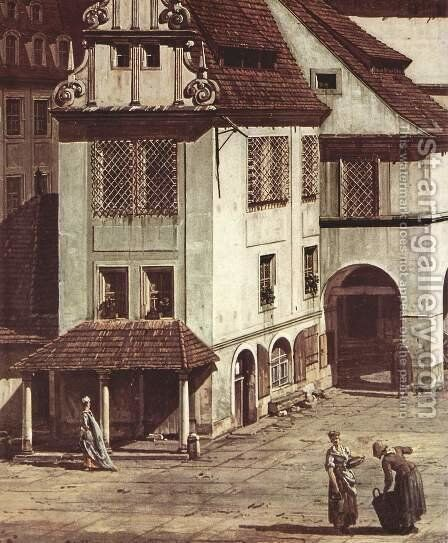 View from Pirna, the market square in Pirna, Detail by Bernardo Bellotto (Canaletto) - Reproduction Oil Painting