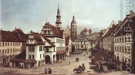 View from Pirna, the market square in Pirna by Bernardo Bellotto (Canaletto) - Reproduction Oil Painting