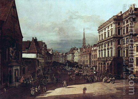 View from Vienna, flour market of Southwest northeast view by Bernardo Bellotto (Canaletto) - Reproduction Oil Painting