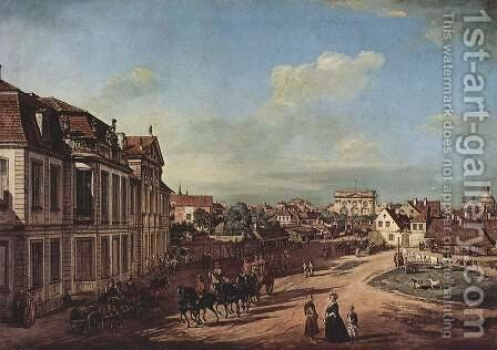 View from Warsaw Castle Lubomorski and Eiseren, Tor Court, from the west by Bernardo Bellotto (Canaletto) - Reproduction Oil Painting