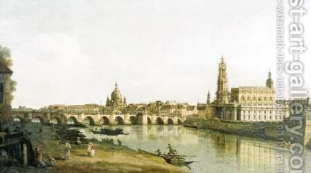 View of Dresden from the Right Bank of the Elbe with the Augustus Bridge by Bernardo Bellotto (Canaletto) - Reproduction Oil Painting