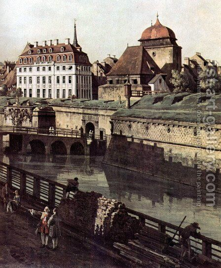 View of Dresden, The Fortress plants in Dresden, with a moat between Wilschen Gate Bridge and Post miles pil 2 by Bernardo Bellotto (Canaletto) - Reproduction Oil Painting