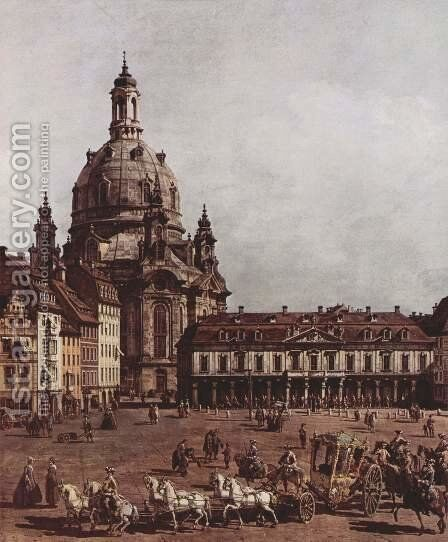 View of Dresden, the Neumarkt in Dresden, Jewish cemetery, with women's Church and the Old Town Watch, detai by Bernardo Bellotto (Canaletto) - Reproduction Oil Painting