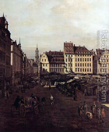 View of Dresden, The Old Market Square from the Seegasse, Detail by Bernardo Bellotto (Canaletto) - Reproduction Oil Painting