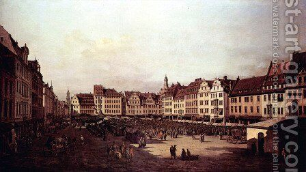View of Dresden, The Old Market Square from the Seegasse by Bernardo Bellotto (Canaletto) - Reproduction Oil Painting