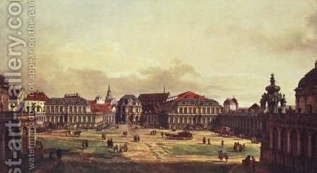 View of Dresden, Zwingerhof in Dresden, from the fortress works view by Bernardo Bellotto (Canaletto) - Reproduction Oil Painting