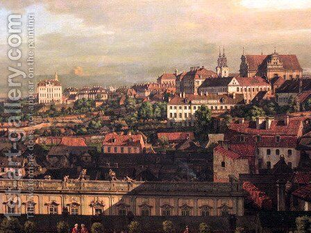 View on Warsaw from Royal Castle fragment by Bernardo Bellotto (Canaletto) - Reproduction Oil Painting