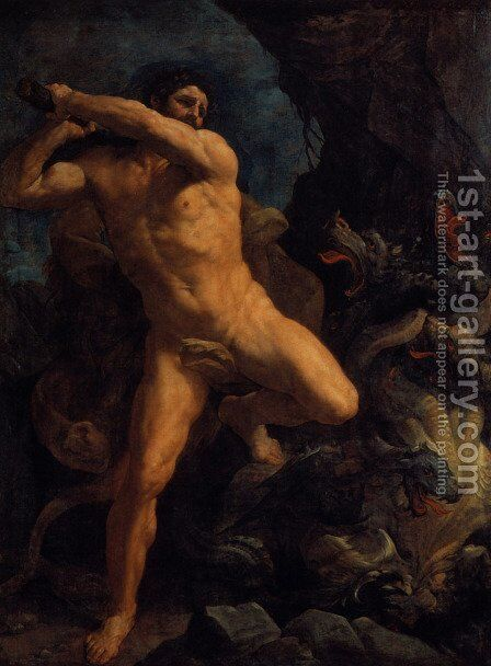 Hercules Vanquishing the Hydra by Guido Reni - Reproduction Oil Painting