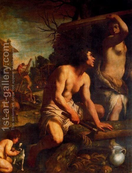 The construction of the Ark of Noah by Guido Reni - Reproduction Oil Painting