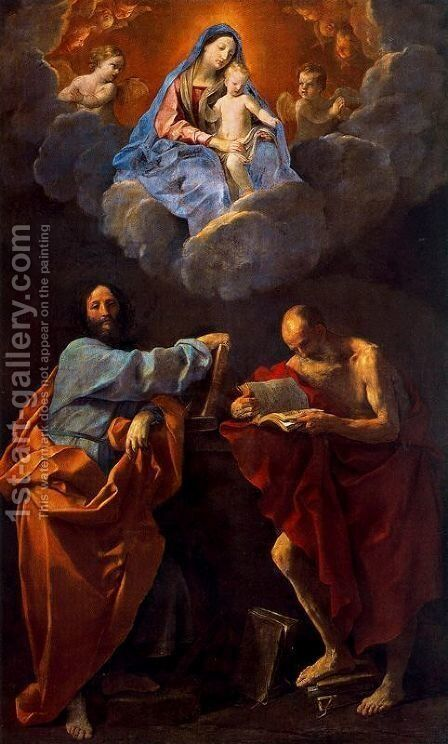 The Virgin and Child Between Saints Thomas and Jerome by Guido Reni - Reproduction Oil Painting