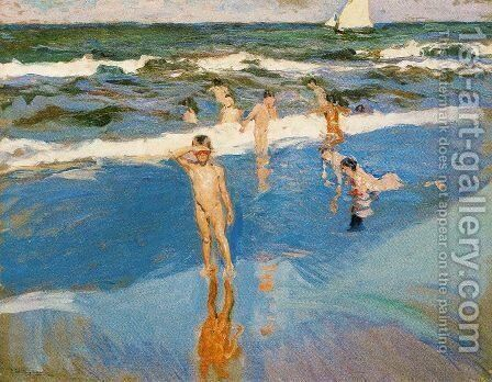 Children at sea. Beach of Valencia by Joaquin Sorolla y Bastida - Reproduction Oil Painting