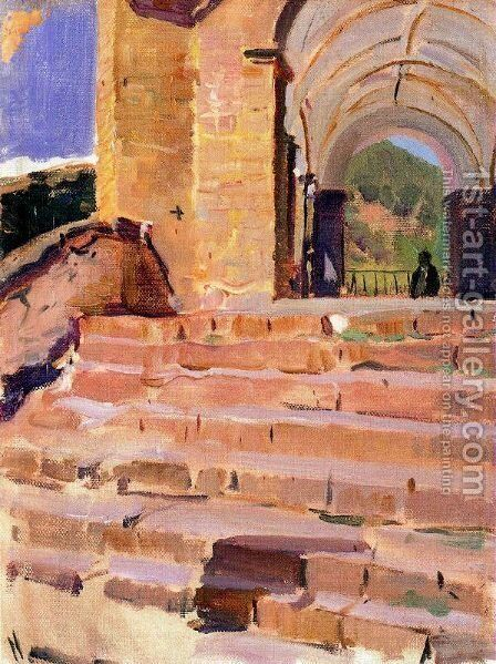 Church Roncal stairs by Joaquin Sorolla y Bastida - Reproduction Oil Painting