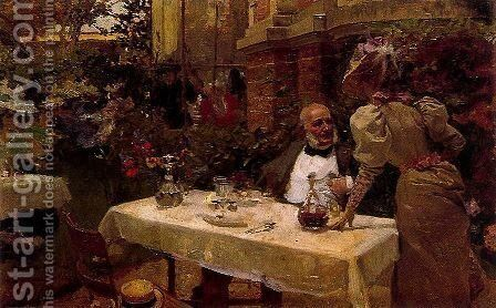 Coffee in Paris by Joaquin Sorolla y Bastida - Reproduction Oil Painting