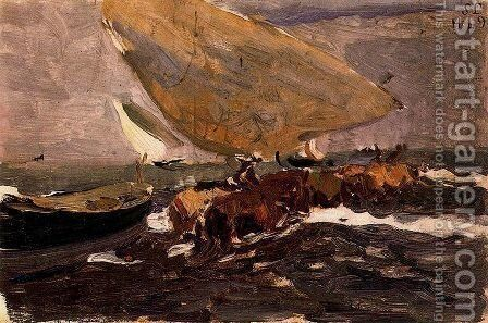 Fishing boat (back) by Joaquin Sorolla y Bastida - Reproduction Oil Painting