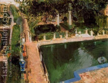Garden of Charles V in the Alcazar in Seville by Joaquin Sorolla y Bastida - Reproduction Oil Painting