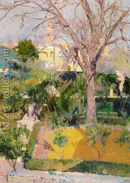 Gardens of the Alcazar in Seville by Joaquin Sorolla y Bastida - Reproduction Oil Painting