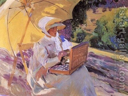 Mary painting at the Pardo by Joaquin Sorolla y Bastida - Reproduction Oil Painting