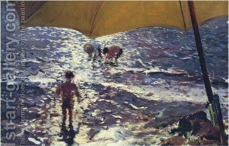 Noon on the beach of Valencia by Joaquin Sorolla y Bastida - Reproduction Oil Painting