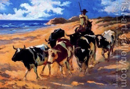 Oxen on the beach by Joaquin Sorolla y Bastida - Reproduction Oil Painting