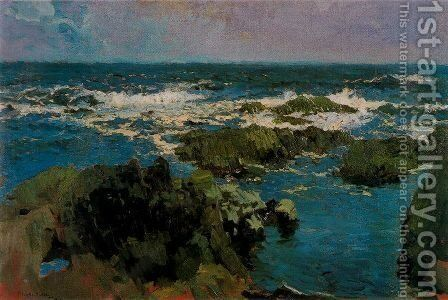 Rocks and Sea of St. Stephen, Asturias by Joaquin Sorolla y Bastida - Reproduction Oil Painting