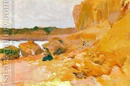 Rocks, Mallorca coast by Joaquin Sorolla y Bastida - Reproduction Oil Painting